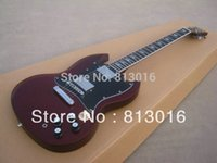Cheap HOT!New Arrival Beautiful Custom sg dark red finisehd ebony fingerboard Electric Guitar Musical Instruments (free shipping)