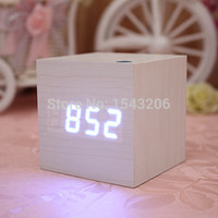 Wholesale White Wood Square Blue LED Alarm Digital Desk Clock Wooden Thermometer USB AAA Thermometer Date Display Vioce Touch Activated