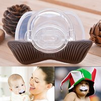 Wholesale New Fashion Infant Baby Feeding Funny Pacifiers Liquid Silicone Cowboy Moustache Teat pacifier Teether Nipple SV007175