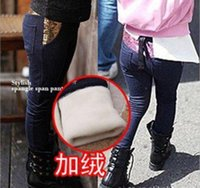 baby pink skinny jeans - PROM children girls warm Pencil Pants Straight Drainpipe Jeans trouses leggings baby clothing thin thick P05 free shippin