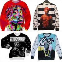Wholesale Alisister new fashion d character sweatshirts printed Tupac Shakur Pac sweatshirt men women Harajuku hoodies colegial clothing