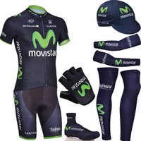 Short bike cover - pro bike wear MOVISTAR cycling jersey bibs shorts set with warmers shoes covers and cycling gloves