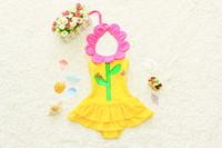 achat en gros de robe de pièce jaune-tournesol maillots de bain de tournesol enfants de Maillots de bain Une Pièce bébé fille jaune maillot de bain de natation robe de filles mignon Costume de Natation de la livraison gratuite en stock