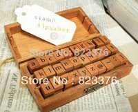 Wholesale DHL Sets set Creative Lowercase Uppercase Alphabet wood rubber stamps set Wooden box Decorative DIY mon