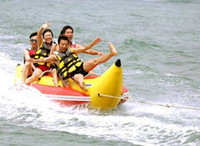 Wholesale inflatable banana boat swimming surfing children s love playing on water beach very happy very fast