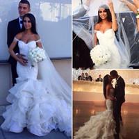 Glamorous 2016 Moda sirena vestidos de boda con gradas Faldas fuera del hombro Vestidos de novia de encaje sexy de las colmenas de las perlas de la boda vestido BA0806