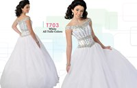 Cheap White Ball Gowns Ritzee Teens Pageant Dresses 2015 Off-The-Shoulder Junior Girls Formal Party Gowns Custom With Rhinestone Beaded T703 AH