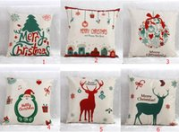 Wholesale 45x45cm Styles Christmas Linen Cushion Decorative Throw Pillow Case Sofa Chair Cushion Cover Canvas
