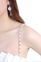 Wholesale Bra shoulder straps for women beads shoulder strap flat bottom crystal with beads design white color sexy bra chain straps 9903