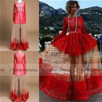 Cheap Long Sleeves Evening Party Dresses with Jewel Neckline 2015 Cheap In Stock Ready to Wear Ship Fast Shipping Red Lace Tulle Prom Casual Gowns