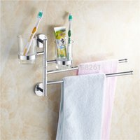 active racks - New Chrome Bathroom Towel Bars with two cup holder Wall Mount Rotatable Active Towel Rack modern bathroom vanity KH