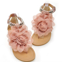 beaded ankle sandals - The new summer flowers toe sandals sandals a beaded girls Camellia student shoes S160106