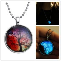 Wholesale Steampunk Glow in the Dark Pendant Necklace Men Stainless Steel Chain Full Moon Galaxy Space Picture Pendant the sunset tree of life