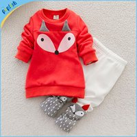 baby boy holiday outfits - 2016 Fox d Kids Fashion Clothes New Arrivals Interloop Boys Girls Red Tops T Shirt White Pants Holiday Baby Thickened Outfit Sets