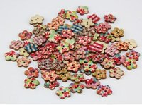Wholesale 100Pcs pack Wooden Holes Flower Shape Sewing Buttons Bulk Coin Scrapbooking Craft Painted Cute Tools Random Color