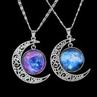 venda por atacado cheap costume jewelry-Moda jóias coloridas Terra e forma da lua Colar Pingente Para Mulheres traje barato Jóias