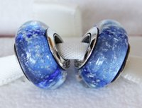 Cheap 5pcs 925 Sterling Silver Threaded Cinderella Sky Blue Fluorescent Murano Glass Beads Fit Pandora Style Jewelry Charm Bracelets