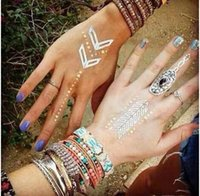 arm ring tattoos - Hot Sale Flash Tattoos Bronzing Tattoos Metal Color Tattoos Bracelet Ring Tattoos Body Art For Women More Style AF4F1