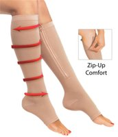 knee support - Zip Sox Zip Up Zippered Compression Knee Supports Stockings Leg Open Toe Black Beige