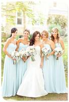Cheap 2015 Sweetheart Chiffon Long Bridesmaid Dresses Sleeveless Pleats Sky Blue Dresses For Bridesmaid