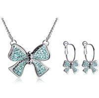 african violet light - Min Order European Style Butterfly Shape Metal Necklace Earring Jewelry Sets Violet White Blue Sets