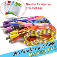 Wholesale 1M ft Colours Flat Braided Fabic Woven Micro USB Data Sync Charger Cable Cord Wire for smartphones