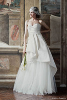 Wholesale 2016 Beautiful Ruched Satin Wedding Dresses Sweetheart Tiers Wedding Gowns Sweep Train A Line Bridal Gowns Custom Made