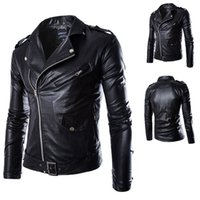 Fall-Korean Brand Fashion Men Black PU Zipper Suede Faux Leather Coat Punk Long Sleeve Motorcycle Jackets Racing Jacket Free shipping