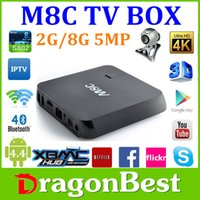 Wholesale 20pcs M8C TV Box Amlogic S802 Quad Core KODI Android4 Kitkat Dual Wifi G G Mic Camera Pre installed APK ADD ONS Free Ship