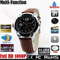 Wholesale Full HD Hidden Spy Camera P IR Night Vision Mini DVR WristWatch Recording Watches H Watch Waterproof GB GB GB