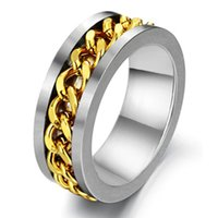 alternative rock band - Men mm Punk Gold Rotatable Twisted Chain Inlay Stainless Steel Ring Rock Biker Alternative Silver Band