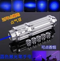 Wholesale Strong power military blue laser pointer burn match candle lit cigarette wicked lazer torch