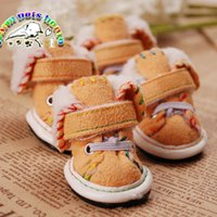 Wholesale CA908 Dog Shoes Goods For Pets Shoes For Dogs Buckskin Warm Dog Winter Boots Snowshoes Puppy Shoes