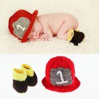 baby photography props - New Top Sale Newborn Baby Photography Props Infant Hat and Shose Costume Outfit Handmade Knit Beanie Cap Photo Props