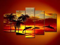 beach decor - hand painted oil wall art DECOR PICTUR Sunrise beach dolphins ROOM DECOR ART PAINTING Landscape oil painting on canvas set