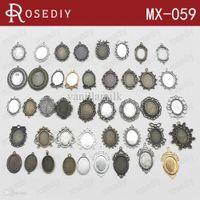 bezels - Total Random Mixed style Zinc Alloy Trays Bezels Pendants Oval Cabochon Beads Settings Diy Jewelry Findings