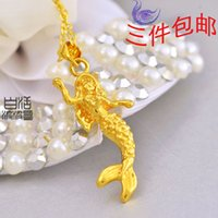 beautiful yunnan - Product beautiful mermaid bride wedding alluvial gold necklace Yunnan ethnic style gilt gold plated K gold jewelry