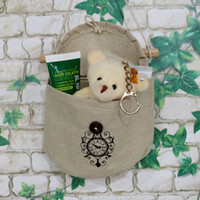 Wholesale 1pcs x12x7cm Vintage Hemp Hanging Wall Pocket Storage Bags For Makeup Sock And Other Tings Cosmetic Organizer Clock Pattern