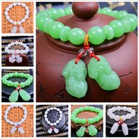 green white jade - Natural White Green Jade Beads Bracelet Natural Jade Bracelets for women Fashion Jewelry For Men Women Drop Shipping