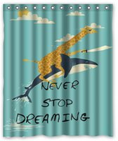 Wholesale Deal Best gift Giraffe Riding Shark Never Stop Dreaming Shower Curtain inch by inch