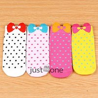 ankle wallet - 1 pair Super cute Lovely Women Ladies Cotton Polka Dots Boat Socks Ankle Hosiery