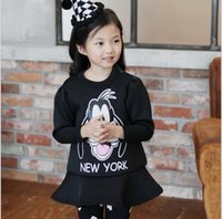 Wholesale Cartoon Goofy in New York Girls Tutu Dresses Air Cotton Flouncing Dress Winter Princess Girl Dressy Child Kids Clothing Black Red K2812
