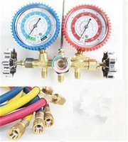air conditioner manifold gauge set - Hot Selling R12 R22 AC A C Manifold Gauge Set FT Colored Hose Air Conditioner Diagnostic Tools For Sale