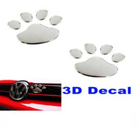 plastic foot - 3D Paw Foot Prints Dog Decal Bumper Sticker car sticker window sticker decoration JP car rear bumper stick silver color with retail package