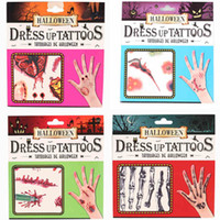 Wholesale 10pcs Embarrass Props Fake Scars Wounds Simulation Horror Bloody Halloween Dress Up Tattoos Sticker Body Art Temporary Tattoos