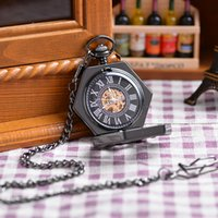 acrylic flakes - New Black Snow Flake Pendant Pocket Watch With Chain Vine Antique Analog Mechanical Hand Winding Pocket Watch
