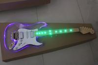 Precio de Plexiglás iluminadas-rollo doble diapasón de la guitarra eléctrica de luz verde cuerpo de plexiglás acrílico párrafo ALLNEWSTAR accesorios azul y oro