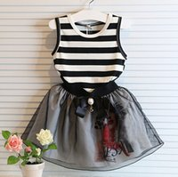 children clothing - 2 Piece Sets Children Stripe Vest Tops Short Skirt Girl Skirt Sets Kids Clothes Sets set J7EA3