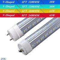 Cheap 4FT 5FT 6FT 8FT V-Shaped SMD2835 T8 T10 T12 LED Light Tubes Super Bright CREE LED Fluorescent Lamp AC 85-265V