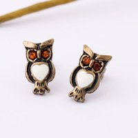 Wholesale Vintage Individuality Owl Stud Earring For Women Retro Unique Animal Nighthawk Earrings Lady Accessories Best Gift Fashion Jewelry